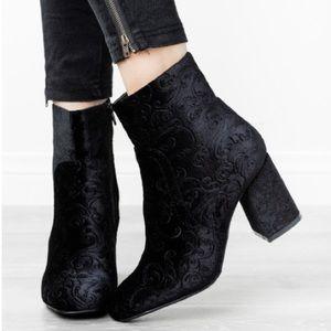 Velour Embellished Velvet Block Heel ankle Bootie